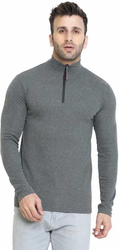 4db63bea2bdd Chkokko Solid Men High Neck Grey T-Shirt - Buy Chkokko Solid Men High Neck  Grey T-Shirt Online at Best Prices in India | Flipkart.com
