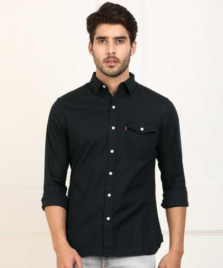 ab1d7e03b26 Levi s Men Solid Casual Black Shirt - Buy Levi s Men Solid Casual ...