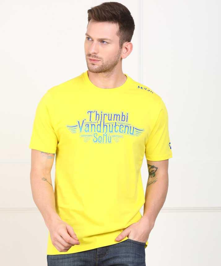593cb12abbf Seven-CSK IPL Printed Men Round Neck Yellow T-Shirt - Buy Yellow Seven-CSK  IPL Printed Men Round Neck Yellow T-Shirt Online at Best Prices in India ...