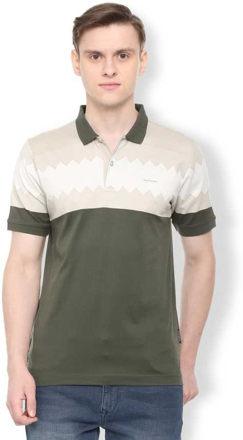 ce5ecd34 Van Heusen Solid Men Polo Neck Green T-Shirt - Buy Van Heusen ...