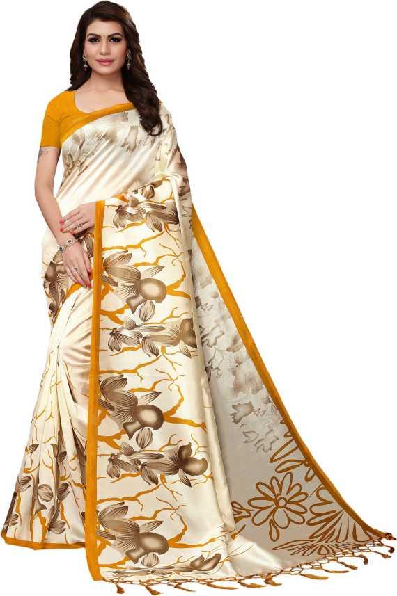 f363b05dc5 Alankar Sarees Printed Fashion Art Silk, Cotton, Cotton Silk, Silk, Silk  Cotton Blend Saree (Cream)