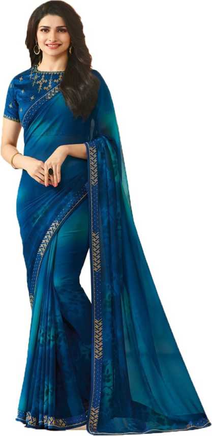 588f700a04 Buy megha shopiline Self Design, Temple Border Bollywood Poly Georgette,  Cotton Blend, Poly Silk Dark Blue, Light Blue Sarees Online @ Best Price In  India ...