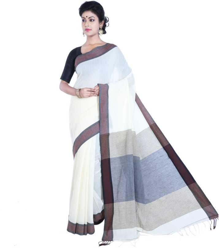 d09d64a523 Buy Rene Solid Handloom Cotton Blend White Sarees Online @ Best Price In  India | Flipkart.com