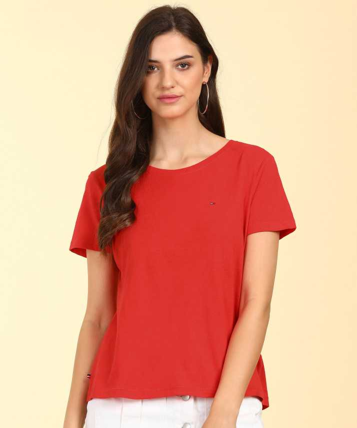 buy cheap new items genuine Tommy Hilfiger Solid Women Round Neck Red T-Shirt
