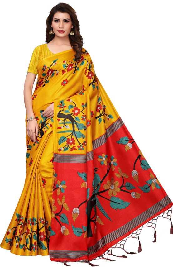 07148ff484 Buy RENSILAFAB Printed Bhagalpuri Khadi, Silk Multicolor Sarees Online @  Best Price In India | Flipkart.com