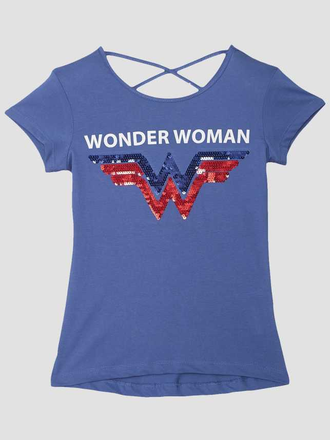 b8c20e35e Wonder Woman By Kidsville Girl's Graphic Print Cotton T Shirt (Blue, Pack  of 1)