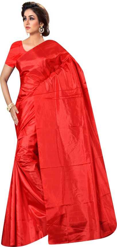 1a9b7e9cc8 Buy nilkanth knitting Plain Fashion Silk Red Sarees Online @ Best ...