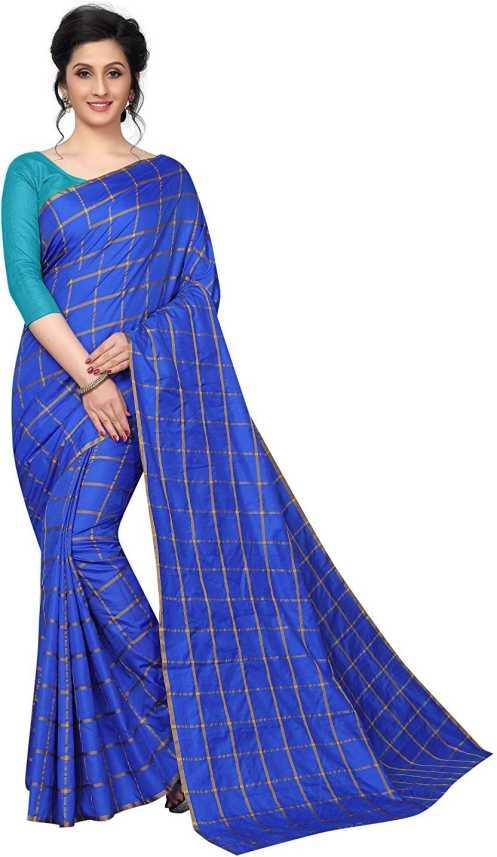 6280c75522 ADD TO CART. BUY NOW. Home · Clothing · Women's Clothing · Ethnic Wear ·  Sarees · Shailaja Sarees. Shailaja Checkered Fashion Silk Saree (Blue)