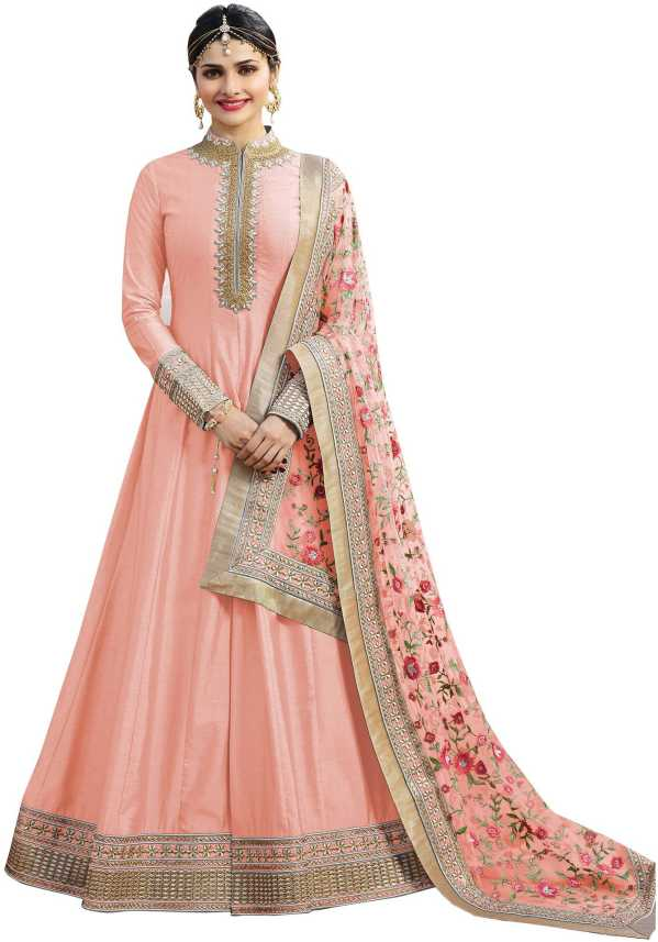 ff2689ee54 Febadditions Silk Embroidered, Self Design Semi-stitched Gown, Salwar and  Dupatta Material (Semi Stitched)