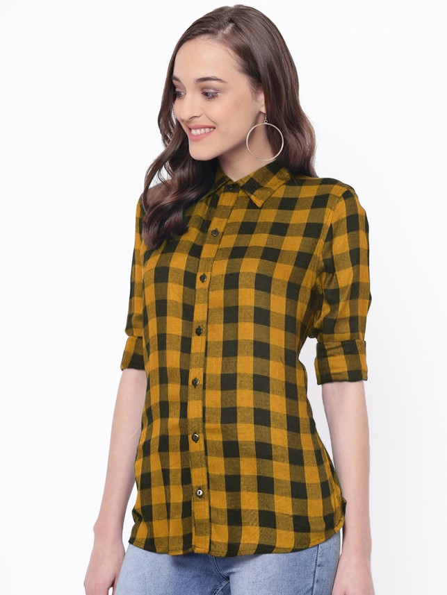 yellow checked shirt womens