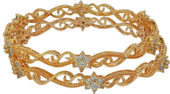 3c3acf1aece24 Crave Brass Cubic Zirconia Gold-plated Bangle Set Price in India ...
