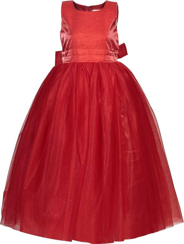 086bdf7b91 MANNAT FASHION Girls Maxi/Full Length Festive/Wedding Dress (Red,  Sleeveless). Special price