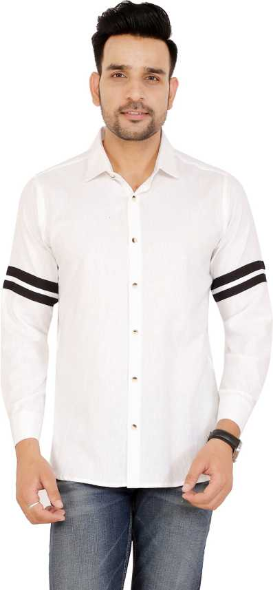 New Fashion Style Men Solid Self Design Casual White Shirt Buy