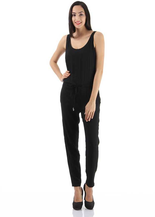 66a5766bc1bf Only Solid Women s Jumpsuit - Buy BLACK Only Solid Women s Jumpsuit Online  at Best Prices in India