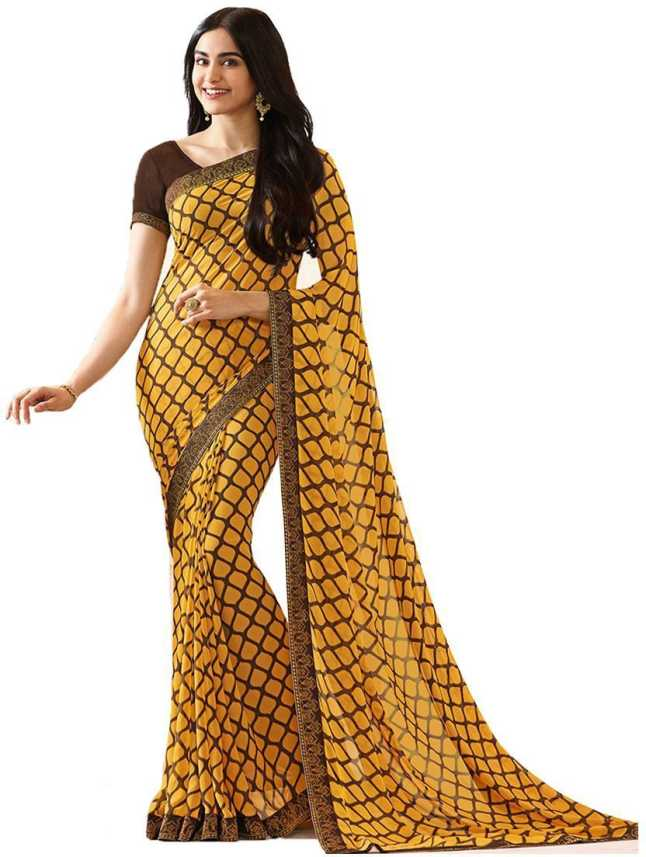 e5defeefe8 Buy Style Amaze Printed Fashion Georgette Yellow Sarees Online ...