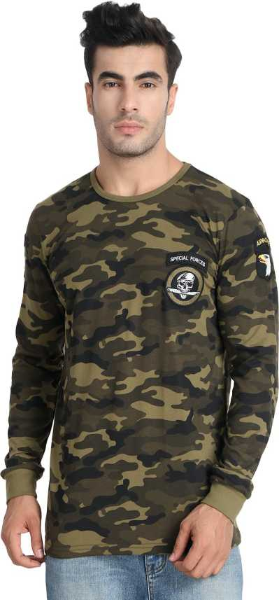 6ce34df00d5f Unisopent Designs Military Camouflage Men Round Neck Green T-Shirt - Buy  Unisopent Designs Military Camouflage Men Round Neck Green T-Shirt Online  at Best ...