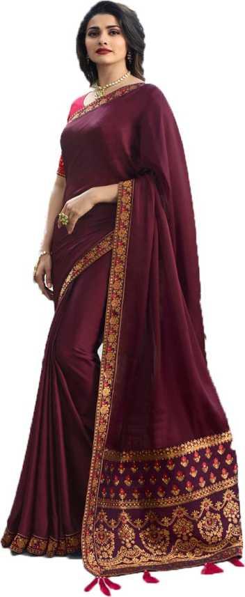 Buy SULEKHA FAB Plain Fashion Jacquard Maroon Sarees Online @ Best