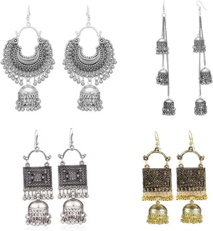 Sak Afghani Oxidised Silver Fashion Earrings In Square And Long Shape Party Wear Combo For Women Sak0092 Metal Chandbali Earring