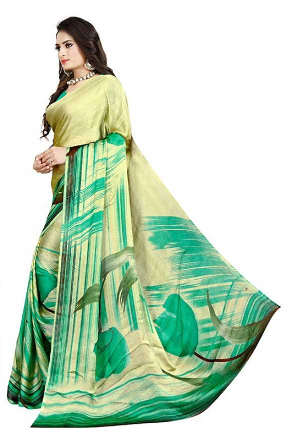 078cf4f18d Buy Blar's Textile India Printed Fashion Chiffon Green Sarees Online ...