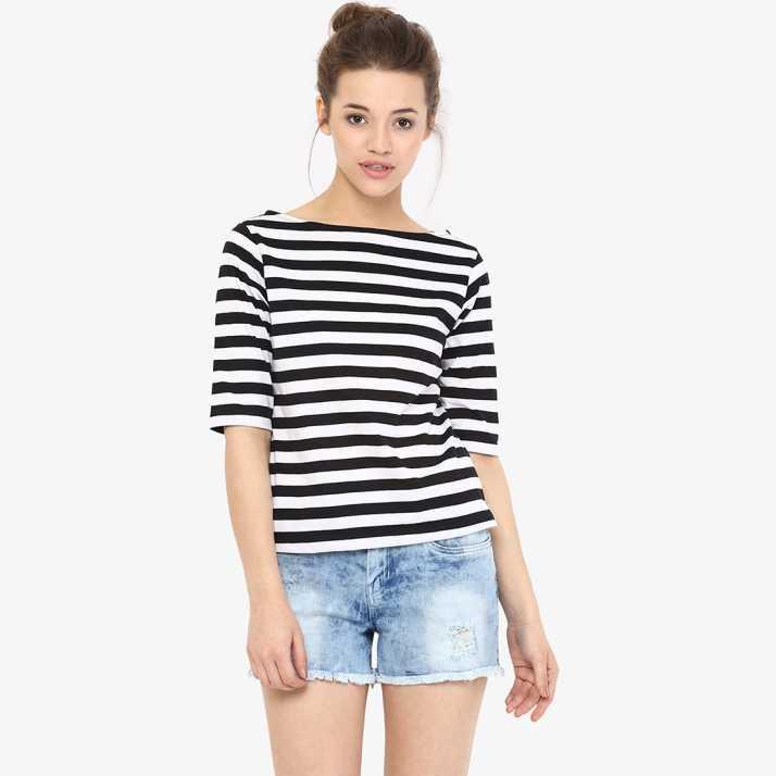 4842dd008cdc12 Miss Chase Casual Half Sleeve Striped Women Black