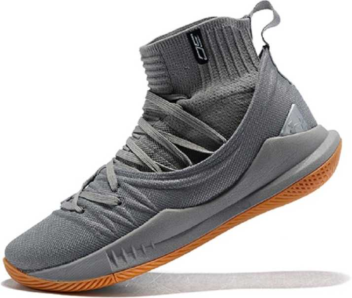 52a847f7 UnderArmour UA Stephen Curry 5 Grey Basketball Shoes For Men - Buy ...