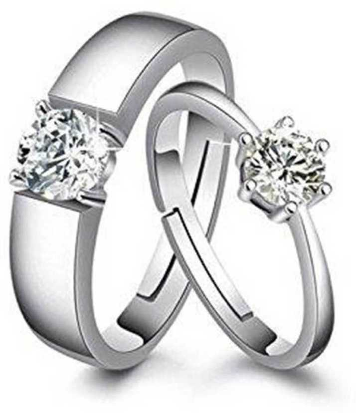 c82d41257f Men Style Valentine Gifts Adjustable Stylish Combo Couple Heart Fi  Stainless Steel Cubic Zirconia Rhodium Plated Ring Set Price in India - Buy  Men Style ...