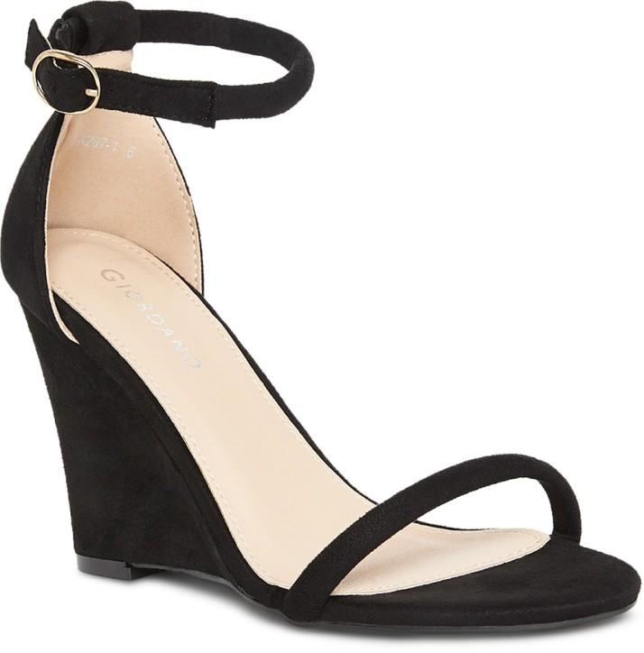 Giordano Women Black Wedges - Buy
