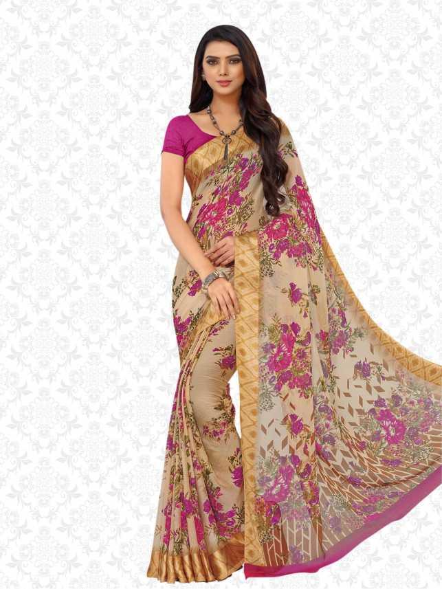 5a01f14ff7 Divastri Floral Print, Printed Bollywood Chiffon, Georgette Saree (Beige,  Pink, Multicolor)