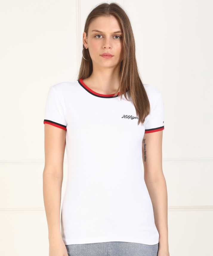 2b66f08f Tommy Hilfiger Solid Women Round Neck White T-Shirt - Buy Tommy ...