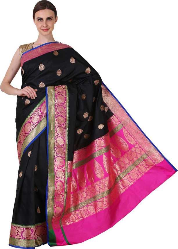 864dc89d533f99 Buy EKAAZ Self Design Banarasi Pure Silk Black Sarees Online @ Best ...