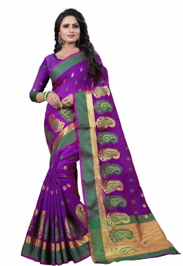 Purple Saree Indian Bollywood Banarasi Silk Sari Wedding Bridal Women Party Wear