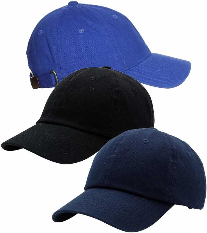 e55880be5 Zipper-G Solid Caps Combo Pack of 3 Royal Blue Black Navy Blue Cotton  Baseball Cap for Men Women Free Size with Adjustable Strap Cap