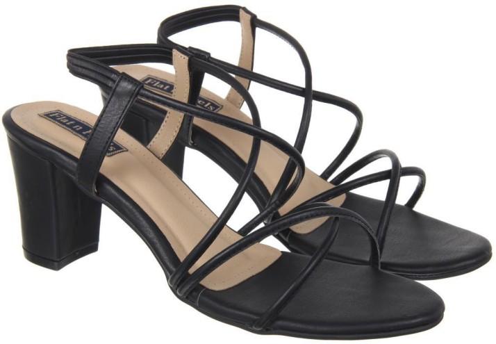 Flat n Heels Women Black Heels - Buy