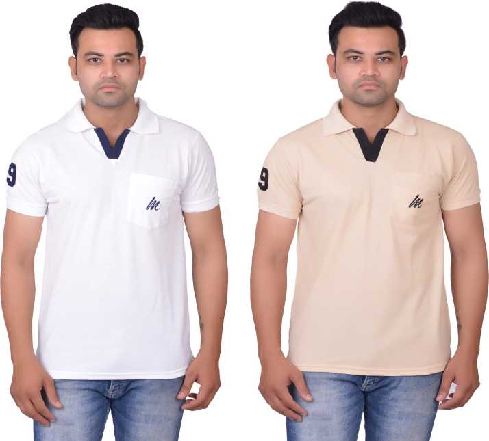 f987abb874f0 Cousin's Solid Men Polo Neck White, Silver T-Shirt - Buy Cousin's ...