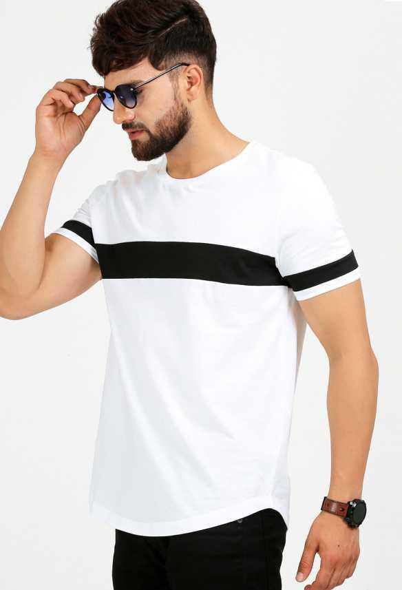 ccdce41ab Aelomart Solid Men Round Neck White, Black T-Shirt - Buy Aelomart Solid Men  Round Neck White, Black T-Shirt Online at Best Prices in India |  Flipkart.com