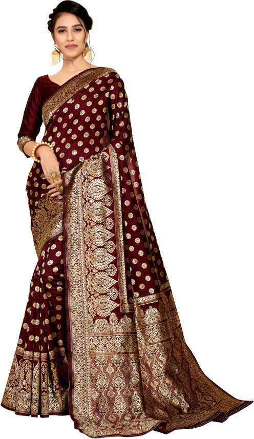 ac3811c972 Buy Rudra Fashion Self Design Banarasi Poly Silk Maroon Sarees Online @ Best  Price In India | Flipkart.com
