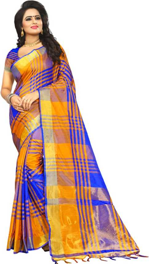 491e3a09e Buy V J Fashion Checkered Fashion Art Silk Multicolor Sarees Online ...