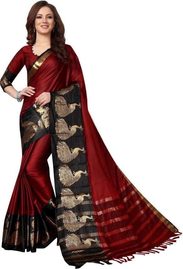9b5b91f9ad Buy HashTag Fashion Solid, Applique, Animal Print, Embellished, Temple  Border, Self Design, Checkered, Polka Print Paithani Cotton, Art Silk Red  Sarees ...
