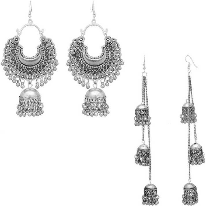 Sak Afghani Oxidised Fashion Earrings In Chandbali And Long Shape Party Wear Combo Of 2 For Women Sak0095 Metal Jhumki Earring