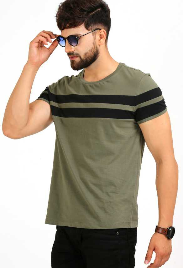 d0c4f6fb9 Aelomart Striped Men Round Neck Light Green, Black T-Shirt - Buy ...