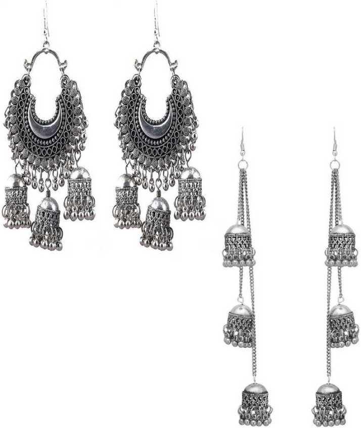 Shining Angel Combo Of 2 Long Silver Earrings For Women And S Alloy Drops Danglers