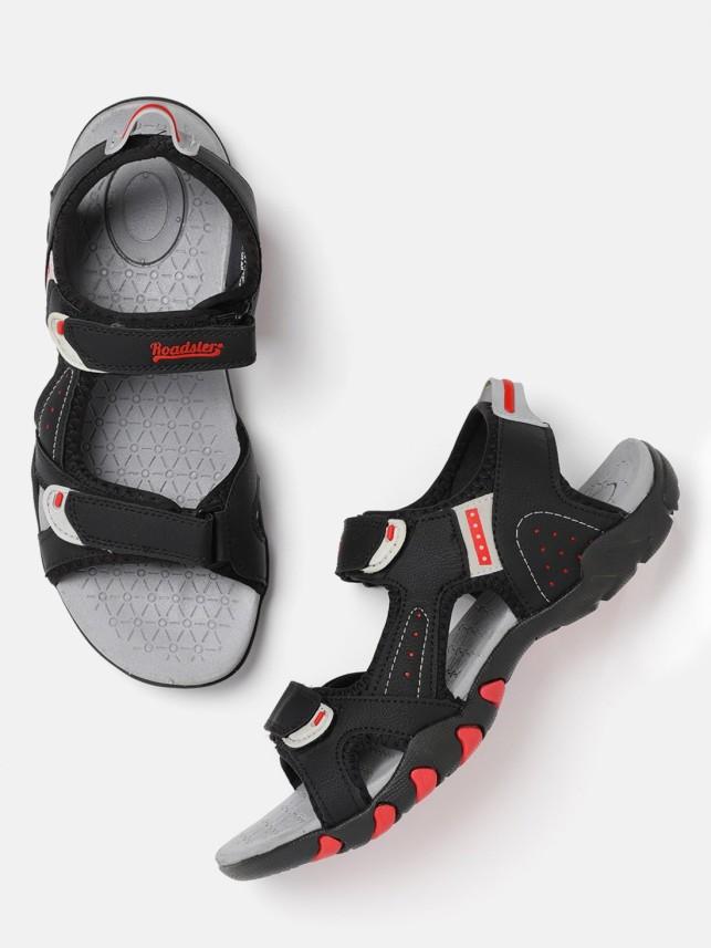 Roadster Men Black Sports Sandals - Buy