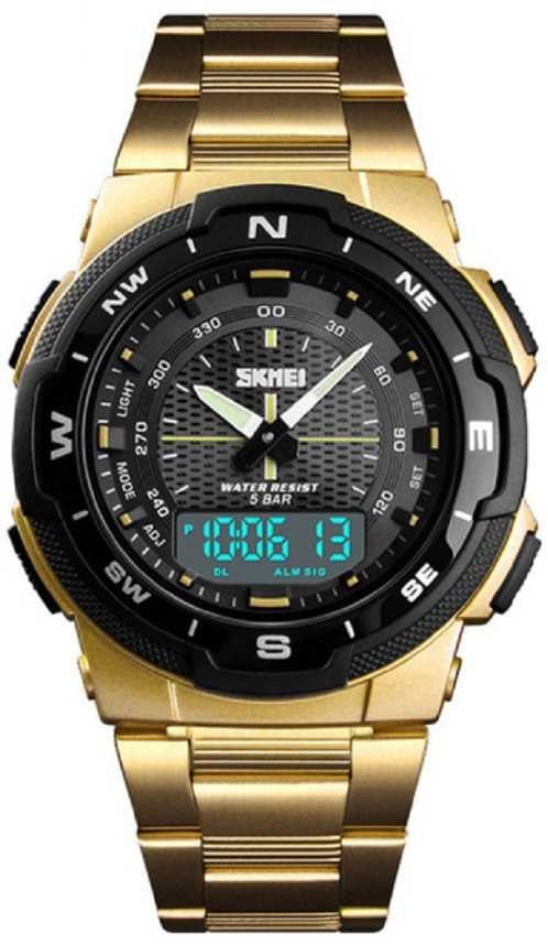 Skmei 1370 Gold Chronograph Stainless Steel Analog Digital Watch For Men Buy Skmei 1370 Gold Chronograph Stainless Steel Analog Digital Watch For Men 1370 Gold Chronograph Stainless Steel Online At Best