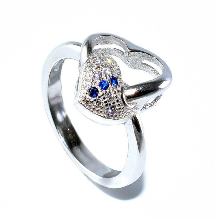 KMJ 925 Sterling Silver Heart Ring Sterling Silver Rhodium