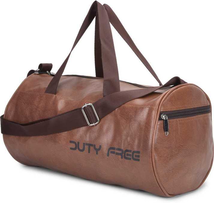 Dutyfree Duty Free 32 L Men And Women Fox Leather Duffle Gym Bag Brown