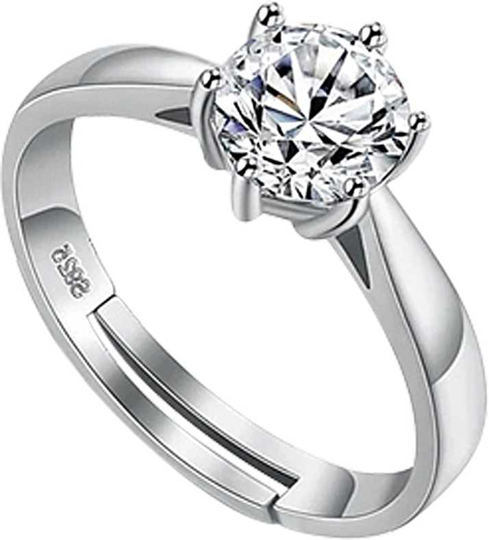 Designin Platinum Plated 925 Silver Plated Ad Cz Solitaire