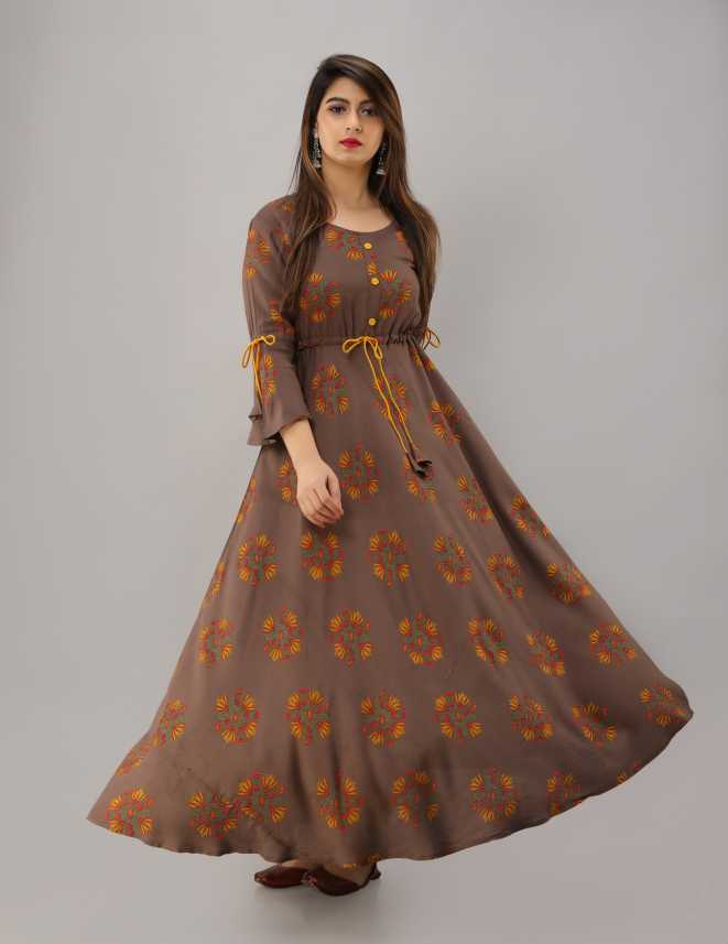 Kurta Traditional Black Printed Dress Anarkali Kurta Flared Dress Round Neck