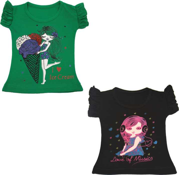 FAZION TRENDZ Girls Self Design Pure Cotton T Shirt Price in India