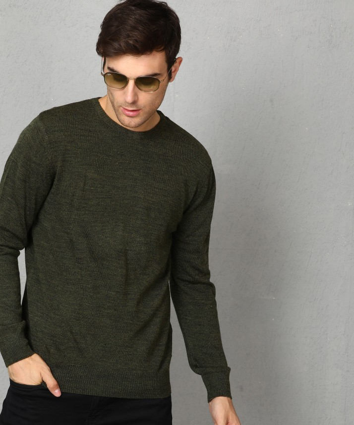 Metronaut Solid Round Neck Casual Men Dark Green Sweater