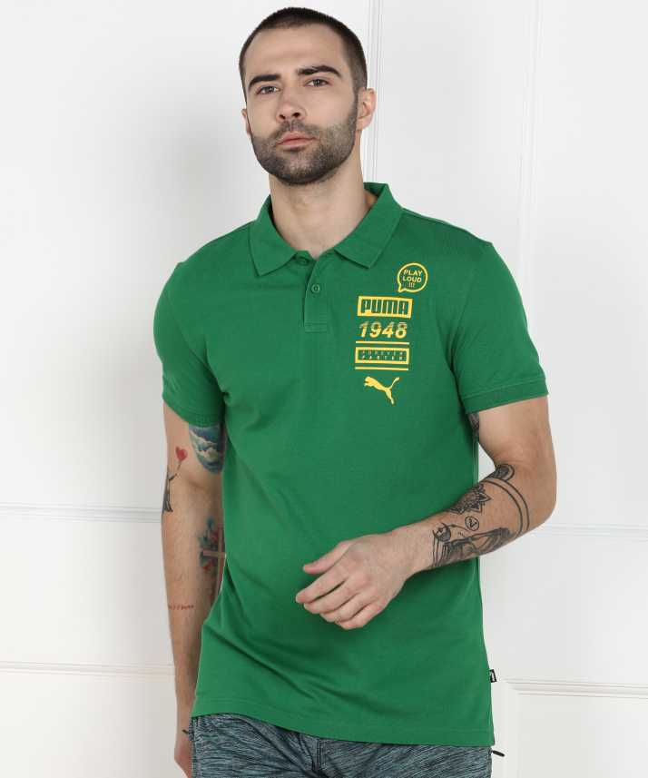 Puma Men Green Solid T Amazon Polo Buy Neck Shirt 4AL3j5R